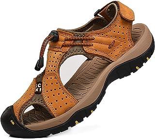 rismart Homme Bout Fermé Crochet&Boucle De Plein air Randonnée Cuir Chaussures Sandales
