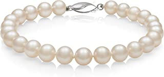 Sterling Silver AA Quality White Cultured Freshwater Pearl Strand Bracelet