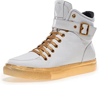 Newyork Men's Sullivan Round Toe Hand-Painted Leather Lace-Up Inside Zipper and Strap High-Top Sneaker