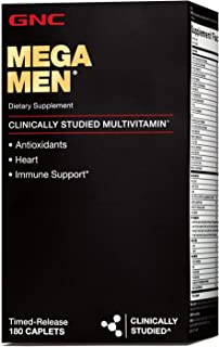GNC Mega Men Multivitamin for Men, 180 Count, Antioxidants, Heart Health, and Immune Support