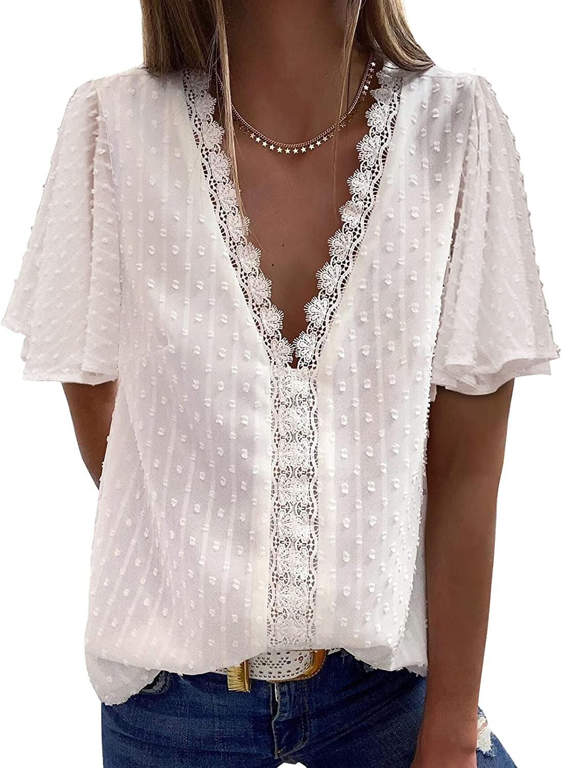 Ecrocoo Womens Sexy V Neck Short Sleeve Lace Summer Shirts Blouses Vintage Elegant Tunic Tops