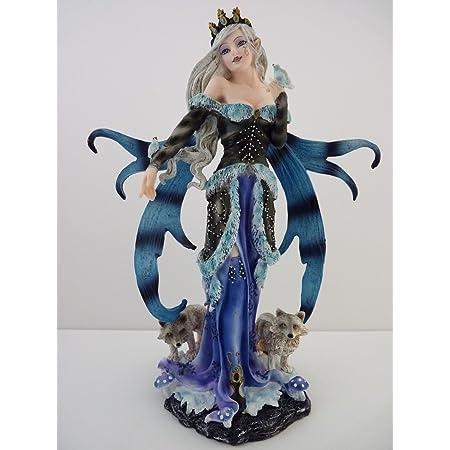 Le coin cadeaux Grande Figurine F/ée avec 2 Renards Statue Statuette Elfe Fairy d/éco 25cm x 19cm