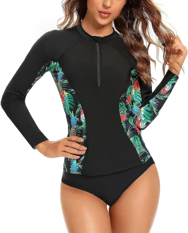 Jeatyuen Women Rash Guard Long Sleeve Zipper Bathing Suit with Built in Bra Swimsuit UPF 50
