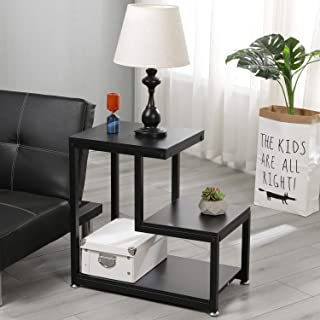 DlandHome Mesa para Lámpara/Téléphone en Forma L Mesa Auxiliar, Soporte de Flores para Sala de Estar, Dormitorio, Oficina, Negro