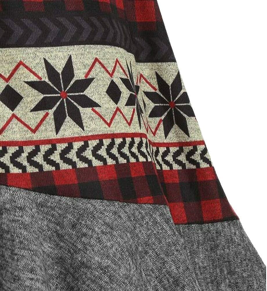 Guajave Damen Weihnachten Elch mit Kapuze Hoch Niedrig Volant Saum Strickkleid Mantel Langärmeliges Kleid Schwarz