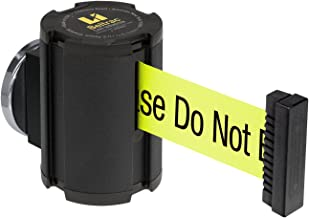 "Lavi Industries 50-41300MG/WB/FY/S6 Beltrac 13` Magnetic Wall-Mounted Retractable Belt Barrier, Wrinkle Black with""Caution - Please Do Not Enter"" Belt"