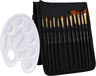 TEABELLE 14 Pcs Paint Brushes Set 12 Sizes Oil Acrylic Painting Brusher with Palette Knife, Sponge and Oil Tray for Acryli...