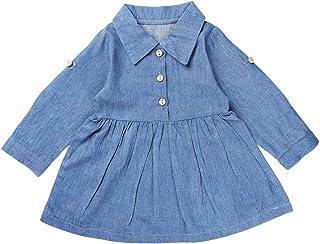 Ming's Toddler Baby Girls Denim Blue One-Piece Dress Long Sleeves Playwear Shirt Skirt