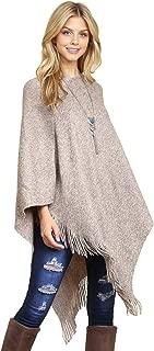Classic Soft Knit Poncho Shawl Wrap - Basic Warm Pullover Fringe Tassel Sweater Chunky Crochet, Plain V-Neck, Turtleneck