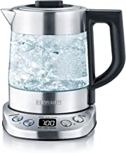 Severin Deluxe mini-waterkoker voor kookwater en thee met 2000 W Power WK 3473, glas/geborsteld roestvrij staal/zwart