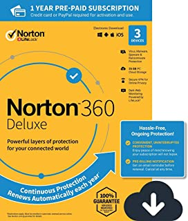 NEW Norton 360 Deluxe – Antivirus software for 3 Devices with Auto Renewal - Includes VPN, PC Cloud Backup & Dark Web Monitoring powered by LifeLock - 2020 Ready [Download]