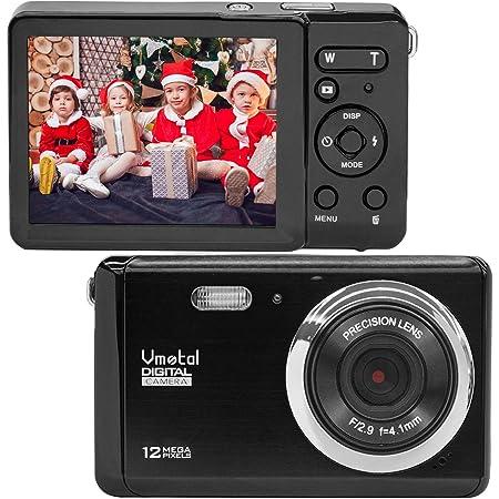 "Compact Digital Camera, Vmotal 2.8"" LCD 12MP Rechargeable Kids Digital Camera 8X Digital Zoom 1080P Video Camera for Kids Teens Beginners (Black)"