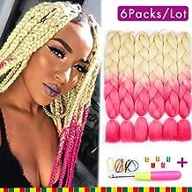 6 Pcs Ombre Braiding Hair Synthetic Hair Crochet Braids Kanekalon Fiber 100g Jumbo Braids 2 Tone Hair Extensions 24inch (Blond to Pink)