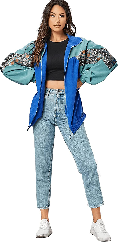 80s Windbreakers, Jackets, Coats | 90s Outerwear SweatyRocks Womens Lightweight Windbreaker Patchwork Zipper Sport Jacket Coat Outerwear  AT vintagedancer.com