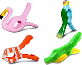 Towel Clips Beach Pool Lounge Chair Holder Cruise Clothes Lines, Flamingo Fish Blue Parrot Gator, Oversize, 4 Pack