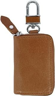 CTM Leather Zip-Around Key Fob Holder on Key Ring