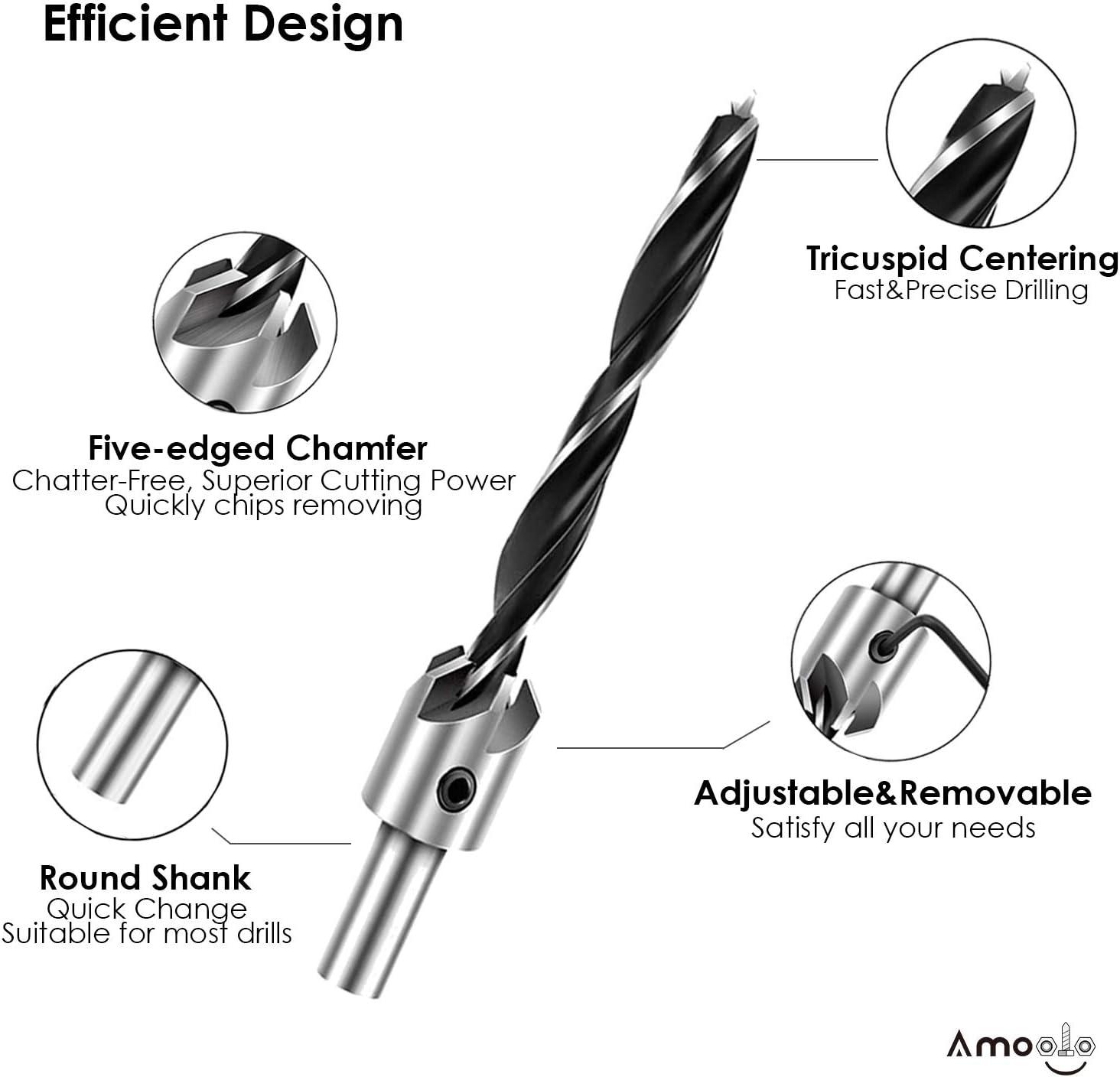 /φ 7//64-13//32 High Carbon Steel Drill Bits with /φ 1//2-5//8 chamfering Combination amoolo 7-Pack Countersink Drill Bit Set with 1 Free Hex Key Wrench Woodworking Carpentry Reamer