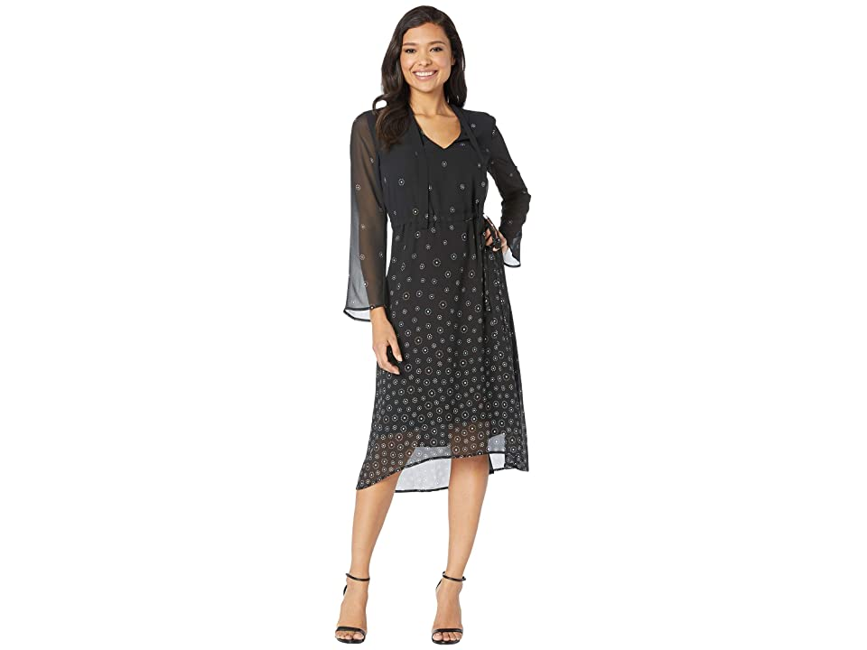 Anne Klein Simone Print Long Sleeve V-Neck Fit Flare (Anne Black/Versailles Combo) Women
