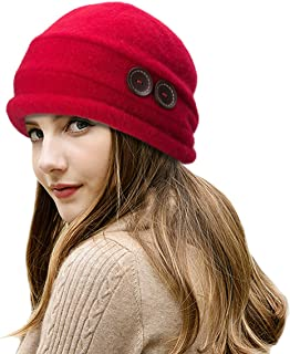Lawliet New Womens 100% Wool Slouchy Wrinkle Button Winter Bucket Cloche Hat T178