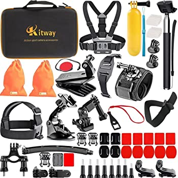 Navitech Action Camera Backpack /& 18-in-1 Accessory Combo Kit with Integrated Chest Strap Compatible with The SJCAM SJ7 Star