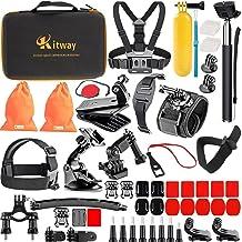 کیت لوازم جانبی دوربین اکشن Kitway 65-in-1 برای Akaso EK7000 / DJI Osmo Pocket / Wewdigi EV5000 / GoPro Hero 6 Hero 5 Black Black Session 7 6 5 4 3+ 3 2 1 / DBpower N6 / Crosstour (لوازم جانبی اکشن camare)