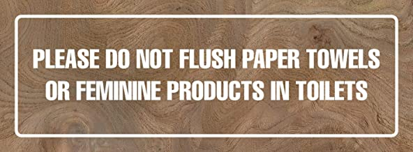 iCandy Products Inc Please Do Not Flush Paper Towels in Toilets Business Door Building Sign 3x9 Inches, Elm Burl, Metal, 2 Pack