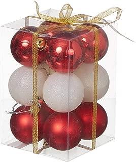 Yılbaşı Kırmızı Beyaz Lüks Ağaç Süsleme Seti 6cm 12li