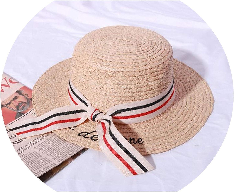 Summer HandWoven Bow Raffa Hat Youth Literary Small Fresh Basin Cap
