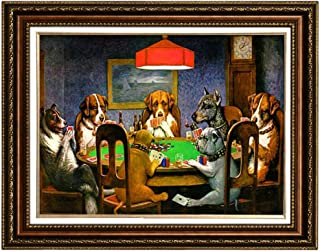 Eliteart-Dogs Playing Poker by Cassius Marcellus Coolidge Oil Painting Reproduction Giclee Wall Art Canvas Prints-Framed Size:28