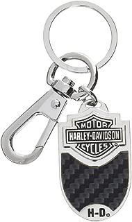 HARLEY-DAVIDSON Bar & Shield Carbon Fiber Vinyl Inlay Key Chain (Black/Oval)