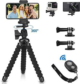 PEMOTech Mini Trípode Móvil [5 en 1] Trípode Móvil Flexible con Bluetooth Control Remoto 2 pcs Gopro Adaptador y Adaptador de Montaje Telefónico para iPhone para SamsungGoProCámara Digital
