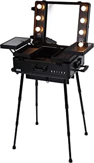 MAYLAN Makeup Train Stand Case With Pro Studio Artist Trolley And Lights, Black - Medium