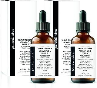 Triple Strength Vitamin C, E & Ferulic Acid Serum (w/Retinol & double weight Hyaluronic Acid) – 30ml / 1 fl oz (2 bottles)...