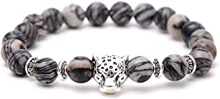 Jewelry Matte Agate Natural Onyx Stone Dragon Veins Agate Mens Womens Bracelets, Alloy leopard Head