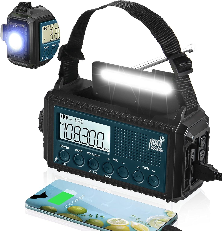 NOAA Emergency At the price Max 54% OFF Weather Alert Radio Solar Crank 5000mAh Hand Powe