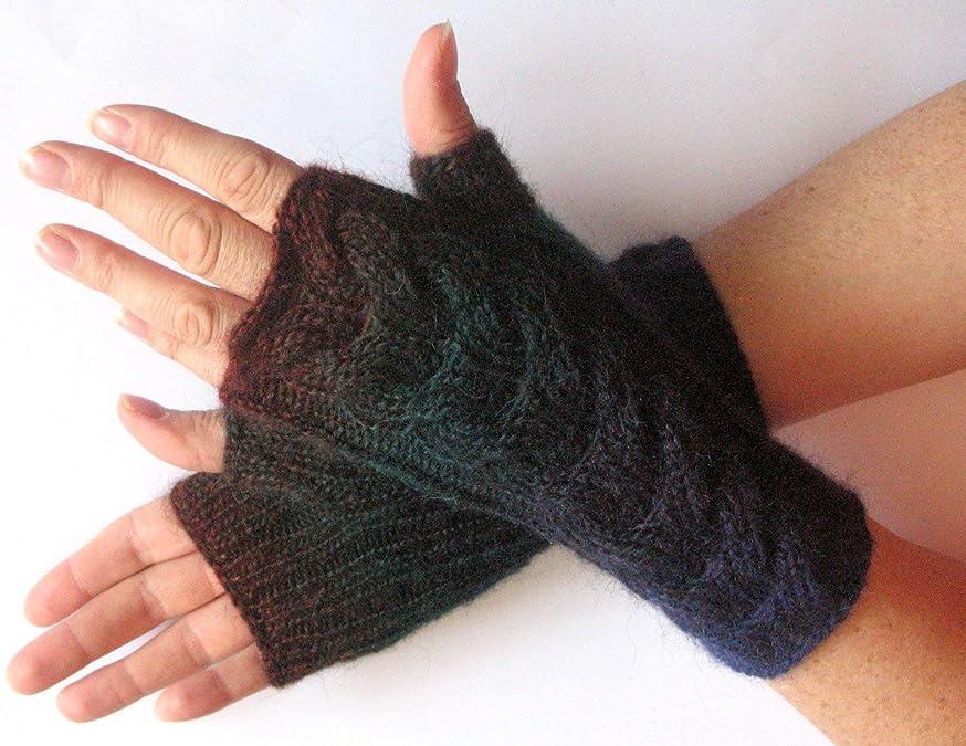 Fingerless Gloves Dark Blue Green Brown wrist warmers