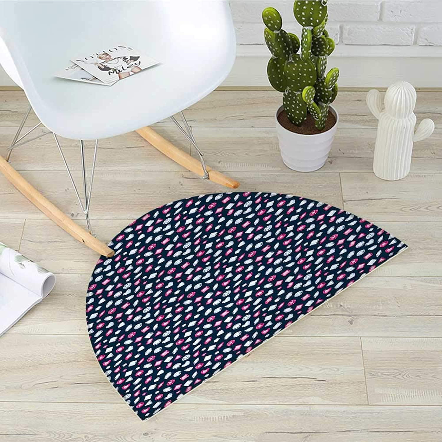 Diamonds Half Round Door mats Round Marquise Square and Heart Shape Arrangement on Dark color Bathroom Mat H 35.4  xD 53.1  Dark bluee Pink Baby bluee