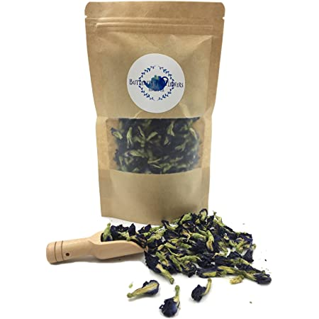 Pure Dried Butterfly Pea Flowers Blue Tea Clitoria Flower Herbal Retreat 100% Organic Nontoxic, GMO Free, 1.80 Oz. Safe And Healthy in Zipper Bag Packaging Get Free a Wooden Scoop Spoon