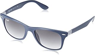RAY-BAN RB4195F Wayfarer Liteforce Asian Fit Sunglasses, Matte Dark Blue/Grey Gradient, 52 mm