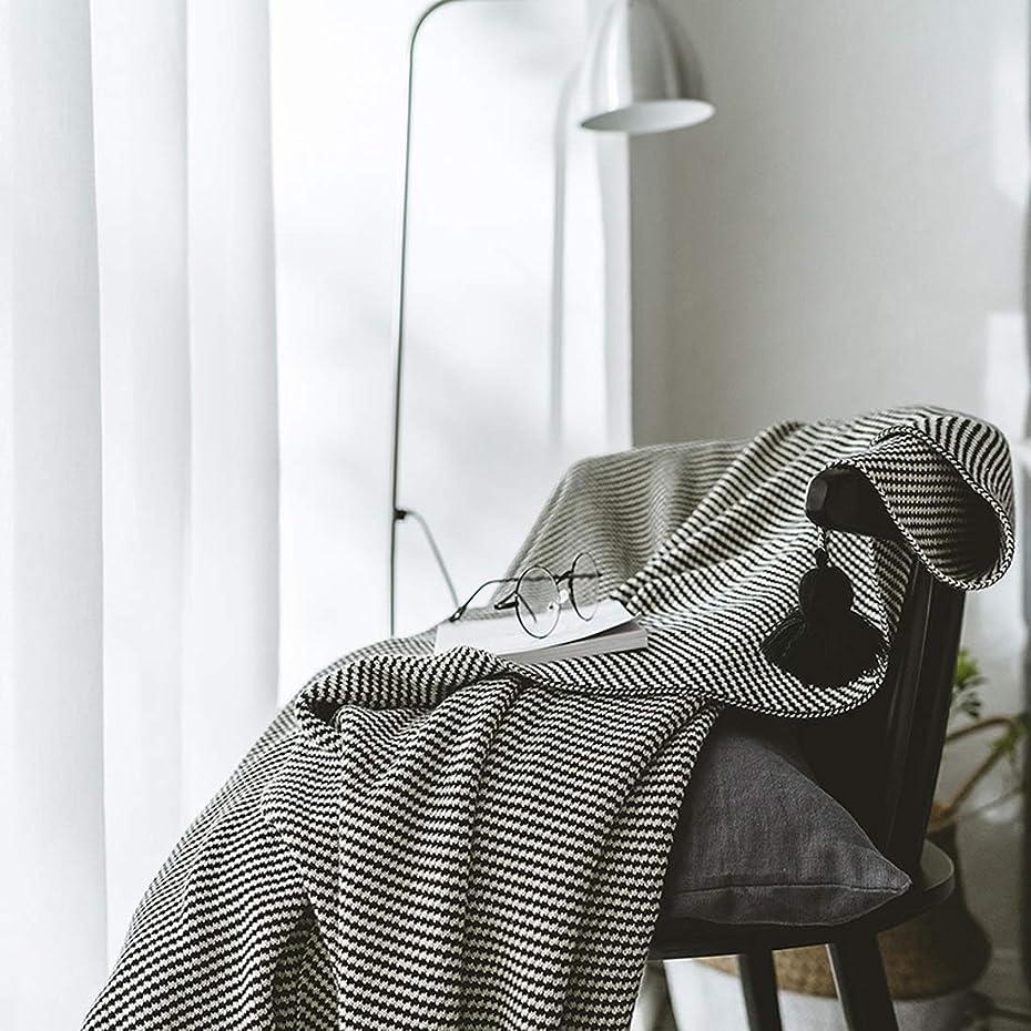 カーテン司書マウスKoloeplf ホームオフィスのコーヒーショップに適したオールコットンニットブランケットブラックストライプハンギングボールブランケット (Color : ブラック)