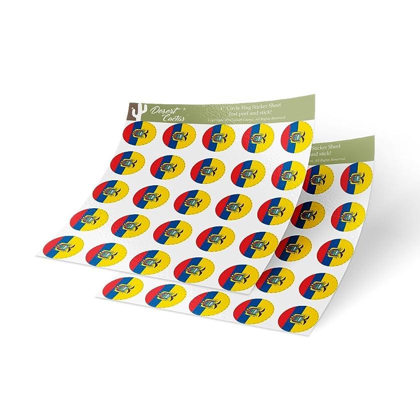 Ecuador Country Flag Sticker Vinyl Decal 1 Inch Round Two Sheets 50 Total Pieces Kids Logo Scrapbook Car Laptop Ecuadorian C