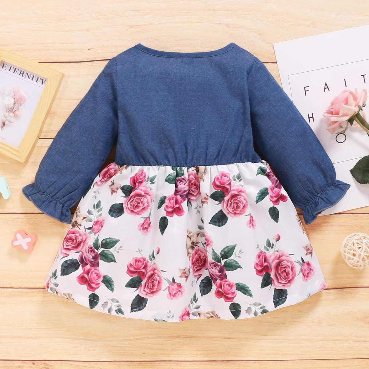 Kucnuzki Toddler Girl Clothes Baby Girl Outfits Long Sleeve Fall Dresses Denim Princess Dress Girls Winter Clothes