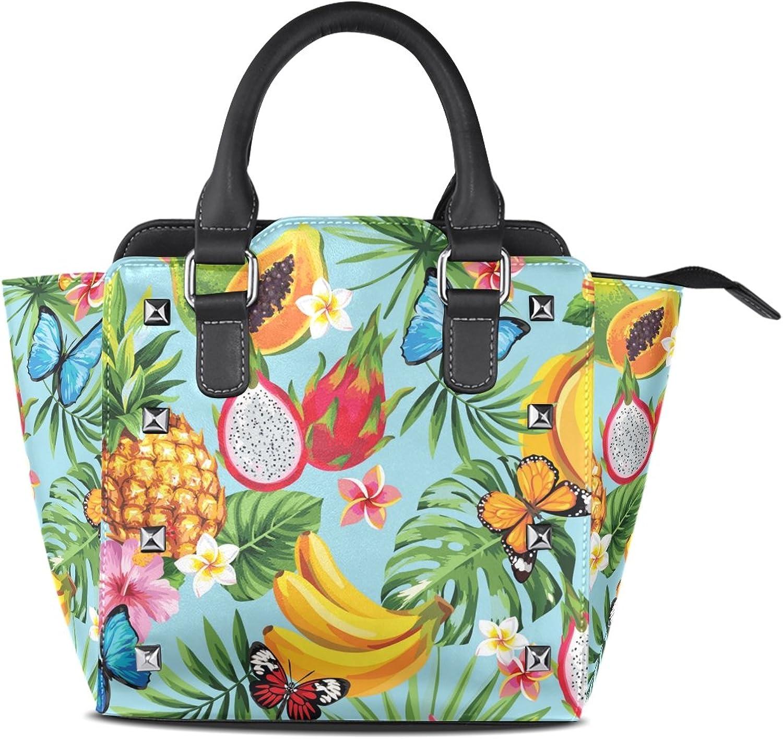 My Little Nest Women's Top Handle Satchel Handbag Tropical Flowers Fruits Ladies PU Leather Shoulder Bag Crossbody Bag