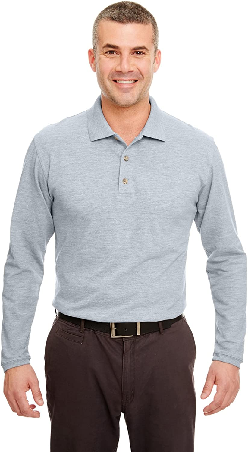 UltraClub Polo Shirt 8532 Solid Men's Long-Sleeve Classic Pique Grey