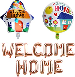 Welcome Home Decorations-Rose Gold Welcome Home Balloon, Colorful House Shape, Round Balloon for Home Party Supplies, Depl...
