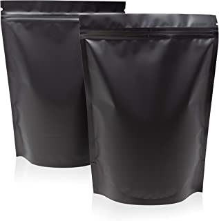 100 Large Smell Proof Bags 6.3x8.6 Inches Matte Black Mylar Bags Stand Up Bags by Space Seal Odorless Smell Proof Bag Resealable Baggies