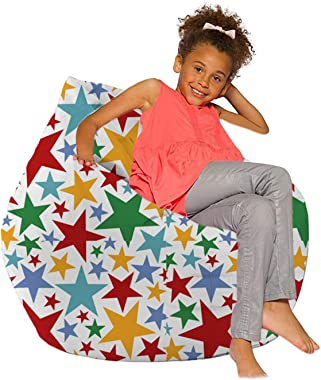 ZNBJJWCP Bean Bag Cover Without Filler Cute Printed Lounger Sack Cozy Lazy Chair Beanbag Slipcover for Adults and Children So