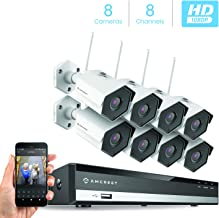 Amcrest 2MP 1080P Security Camera System,w/ 4K 8CH NVR, (8) x 2-Megapixel 3.6mm Wide Angle Lens Weatherproof Metal Bullet Wi-Fi IP Cameras, NV2108-IP2M-852W8 (White)