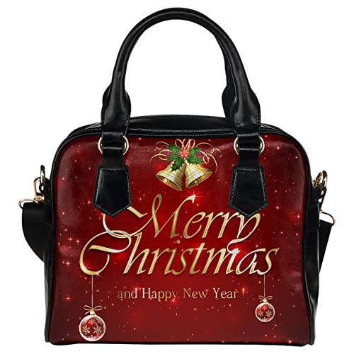 CASECOCO Red Starry Merry Christmas Womens PU Leather Purse Handbag Shoulder Bag