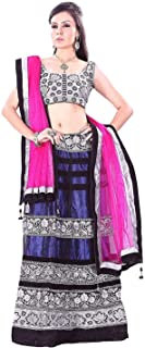 Indian Dresses Store Florence Women's Net Blue Printed Combo Lehengha Choli(an_1010,Free Size)